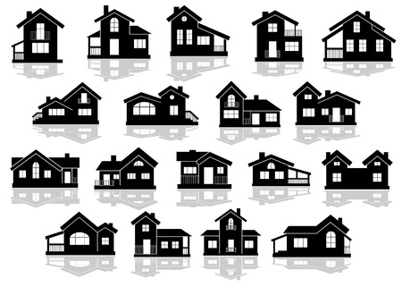 부동산 디자인에 대 한 흰색 배경에 반사와 주택 및 오두막의 검은 실루엣, 일러스트