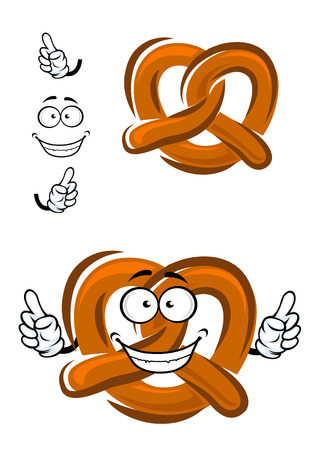 Bavarian crispy pretzel cartoon character with brown baked crust and happy smile with thumbs up, for  bakery or food design Illustration
