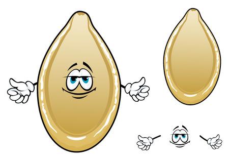 Personaje de dibujos animados amarillo tostado semilla de calabaza con cáscara ovalada crema aisladas sobre fondo blanco Ilustración de vector