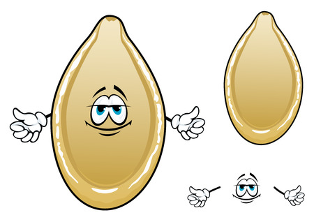 Yellow roasted pumpkin seed cartoon character with oval cream husk isolated on white background Çizim