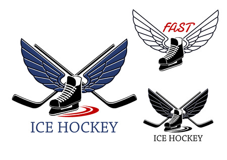 hockey skates: Ice hockey emblems with winged ice skates, motion trails and crossed sticks on the background for sports design