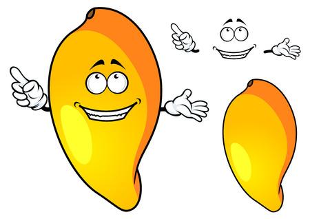 Juicy ripe tropical cartoon mango fruit character with orange yellow smooth skin isolated on white background