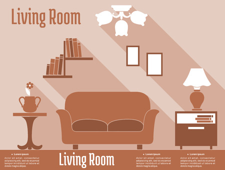 bedside: Flat interior design infographic of living room in brown and orange colors with comfortable sofa, bedside tables on both sides, lamp, chandelier and bookshelf Illustration
