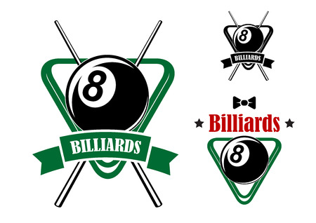 cue ball: Billiards or pool game emblems with balls in the triangle racks, stars and bow tie. Second variant with crossed cues and ribbon banner.Suitable for sporting club or team design