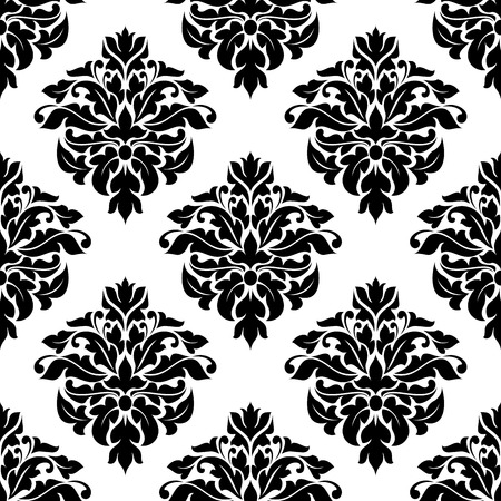 victorian wallpaper: Victorian black and white floral seamless pattern with stylized damask leaves scrolls for wallpaper or fabric design