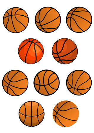 professional basketball league: Basketball balls symbols isolated on white background for sport game design