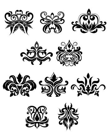 Zwarte bloemen in damast stijl versierd met knoppen, stippen, krullen en weelderige krullende bladeren. Geïsoleerd op witte achtergrond Stock Illustratie