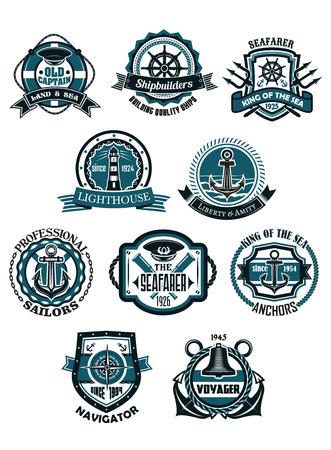 in chains: Marina y náutica emblemas heráldicos o iconos en estilo retro con anclas, timones, faro, brújula, casquillo del capitán, catalejo, campana, cuerdas y cadenas, aros salvavidas con banderas de la cinta Vectores