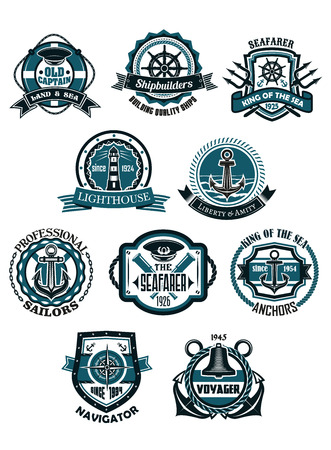 spyglass: Marine and nautical heraldic emblems or icons in retro style with anchors, helms, lighthouse, compass, captain cap, spyglass, bell, rope and chains, lifebuoys with ribbon banners