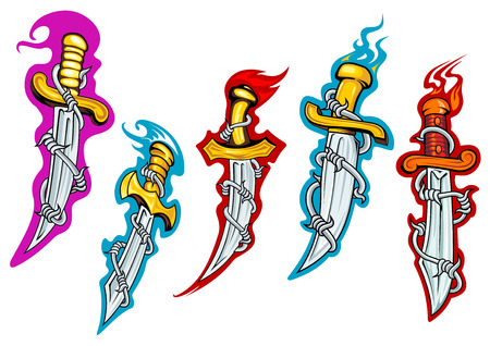 Antique forged daggers with barbed wire, olden handles and fire flames for tattoo or t-shirt print design Vector
