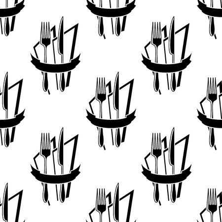 napkins: Black and white seamless pattern with restaurant forks and knives on the napkins with blank ribbon banner for menu or recipe book design