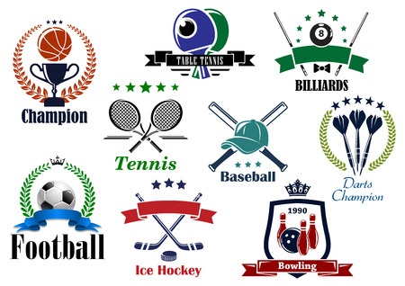 Sporting icons and emblems with football, soccer, basketball, billiards, tennis, bowling, baseball, table tennis, darts heraldic elements Vector