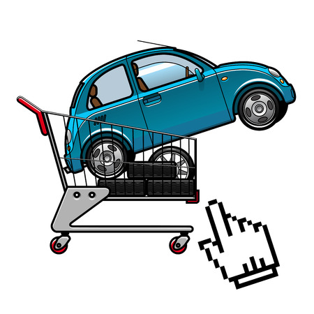 Blue car and tires on a shopping cart with cursor hand icon for buying car online concept design Illustration