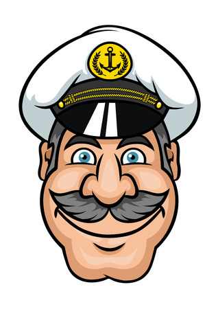 peaked: Ship captain or sailor in white peaked cap with gray hair and lush moustache in cartoon style Illustration