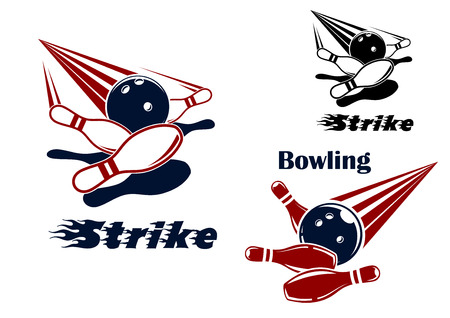 Bowling strike icons or emblems design with bowling balls crashing ninepins in red, blue, black and white colors Illustration