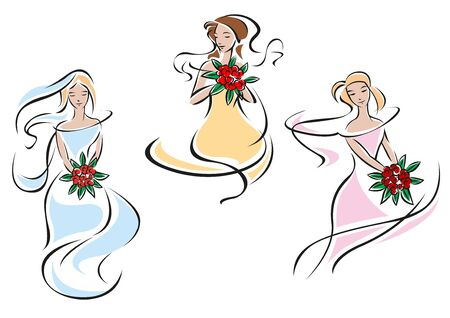 Romantic brides in colorful wedding dresses holding bouquets of red roses in outline sketch style Vector