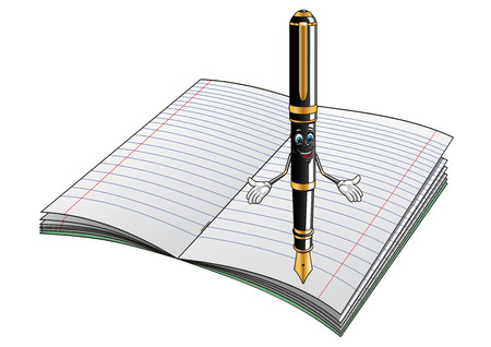 Happy smiling cartoon fountain pen character with golden nib and decorative elements on open lined notebook suited for stationery or education design Vector