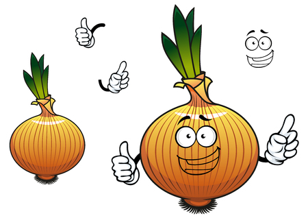 husk: Golden onion vegetable cartoon character depicting joyful sprouted bulb with brittle husk and bundle of roots for vegetarian food design