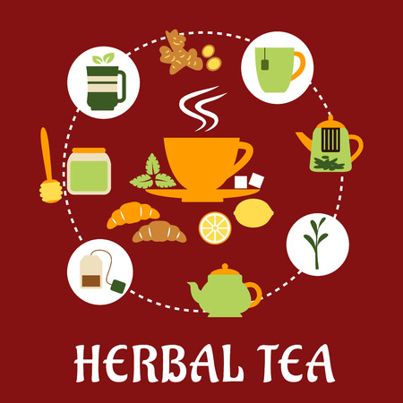 Herbal tea flat infographic design with cup of hot tea on saucer, mint leaves, sugars, lemon and croissant surrounded teapots and cups, honey jar with dipper, tea bag, tea leaves and ginger on red background with caption Herbal Tea below