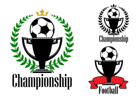 adorned: Soccer or football championship badges or emblems design with balls on the top of the trophy cups adorned ribbon banner or laurel wreaths with crowns