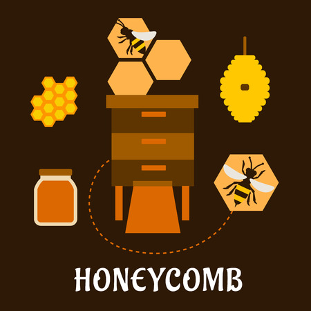 apiculture: Honeycomb flat infographic design with bees flying near beehives, honeycombs and glass jar with liquid honey on dark brown background suited for beekeeping industry design Illustration