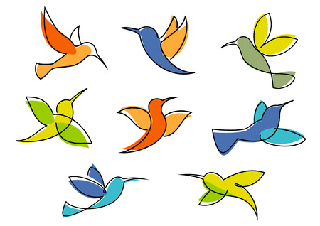 hover: Colorful hummingbirds symbols in different poses for business icon or emblem design in sketch style isolated on white background Illustration