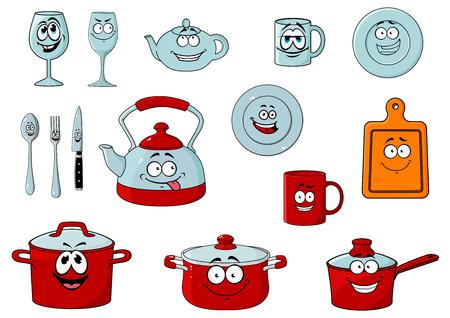 Happy lachende cartoon glaswerk en keukengerei personages met steelpan, potten, lepel, mes, vork, glazen, kopjes, borden, kopjes, theepot, een waterkoker en een snijplank voor restaurant of cafe ontwerp