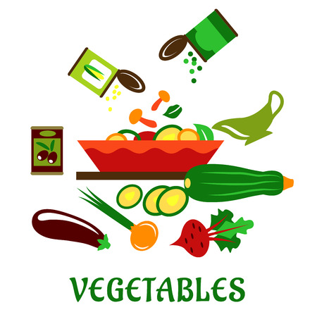 sweetcorn: Mushrooms, green peas and sweetcorn falling in a deep salad bowl with chopped vegetables, olives can, whole and sliced zucchini, eggplant, green onion, beet and cream sauce. Cooking vegetables flat concept on white background Illustration
