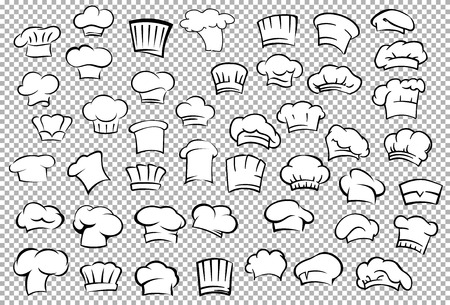 Classic chef toques and baker hats in outline sketch style on gray checkered background for restaurant or cafe kitchen staff uniform design Çizim