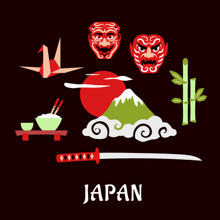 rice paper: Japan travel flat concept with Fujiyama mountain in clouds and big red sun surrounded by symbols of japanese culture including katana samurai sword, bamboo sprouts, bowl with rice and chopsticks, origami crane and traditional theatrical masks with text be