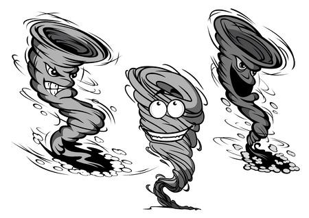 猛烈な汚い灰色竜巻とハリケーンの漫画の雲が白い背景に分離されて周りのほこりやモーションのトレイルのキャラクター  イラスト・ベクター素材