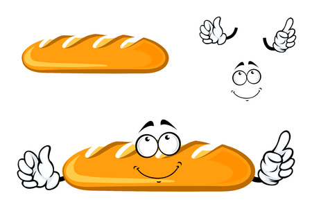 long loaf: Long loaf bread cartoon character with a dreamy smiling face isolated on white background for bakery shop or food market design Illustration