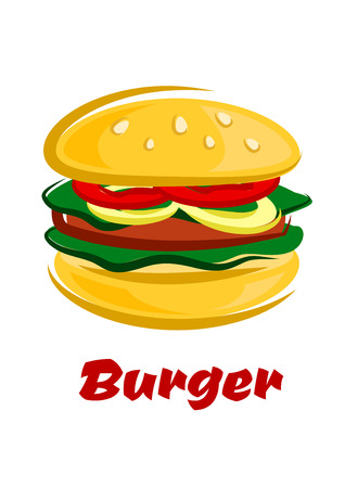 sesame: Tasty burger in cartoon style with sliced tomato, onion, lettuce and meat patty on a sesame seed bun isolated on white background for junk food or healthy nutrition concept design Illustration