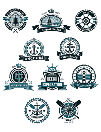 helm: Vintage blue marine badges and icons including ship, helm, anchor, crossed paddles, old lighthouse, compass, bell,ropes, chains, lifebuoy