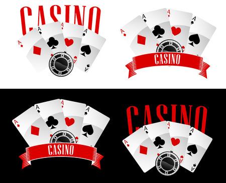 gambling chip: Emblemas Casino o iconos con tarjetas de cuatro ases del p�ker y los juegos de azar chips decorada Casino subt�tulo en la bandera de la cinta, aislados en fondo