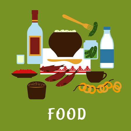 russian food: Russian traditional food and drink flat icons  with potato, vodka, milk, red caviar, rye bread, dry bagels, roaches, pickled cucumbers Illustration