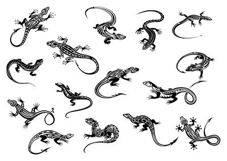 lagartija: Lagartos o lagartijas negras reptiles de la camiseta o del diseño del tatuaje con adornos decorativos en el estilo tribal