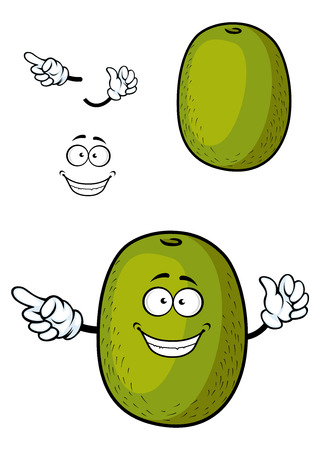 fibrous: Happy kiwi fruit cartoon character with fibrous dark green peel and smiling face isolated on white background