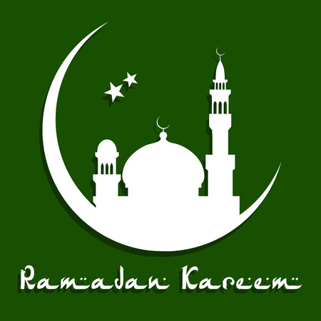 minarets: Mosque with moon and stars white silhouettes on dark green background with caption Ramadan Kareem below suitable for greeting card design for muslimreligious holy month Ramadan Mubarak Illustration