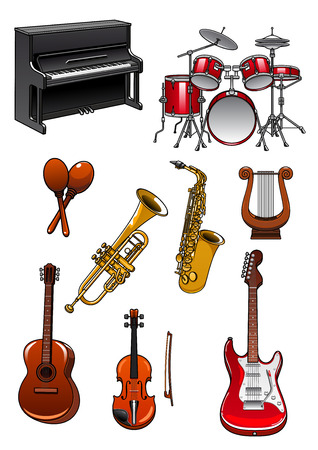 instruments de musique: Instruments de musique dans le style de bande dessinée avec piano, jeux de tambour, maracas, trompette, saxophone, violon, harpe, guitares acoustiques et électriques