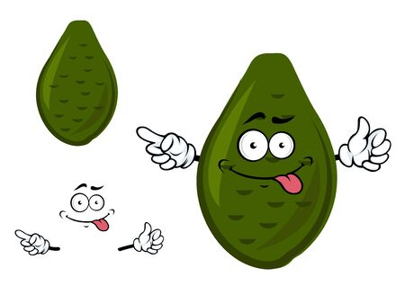 peel: Teasing ripe avocado fruit cartoon character with rough knobbly dark green peel and funny face isolated on white background