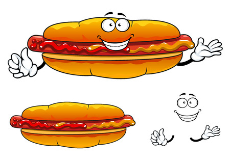 Joyful  hot dog cartoon character with grilled sausage, mustard and ketchup isolated on white background suited for barbecue party or fast food menu design Illustration