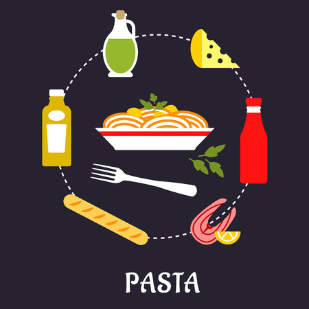 spaghetti dinner: Italian pasta food flat design with traditional italian spaghetti with sauce and basil encircled by bottles of olive oil, tomato and mustard sauces, fork, cheese, ciabatta bread and salmon fish with lemon Illustration
