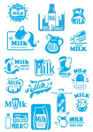 mleka: Naturalne świeże mleko niebieskie ikony, w tym etykiety i butelki, opakowania, dzbanki i okulary z cieczy lub krople, do żywności lub napojów pakiet projektowania