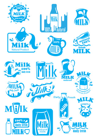 Natural fresh milk blue labels and icons including bottles, packs, jugs and glasses with splashes or drops, for food or beverage package design Illustration