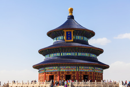 religious building: Beijing, China -April 28, 2015: Temple of Heaven, Beijing, China. Ancient religious building, the Ming and Qing dynasties emperor worship Editorial
