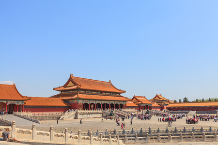 emperor of china: Beijing, China - April 28, 2015: Forbidden City, Beijing, China. The Gate of Supreme Harmony in emperor palace Editorial