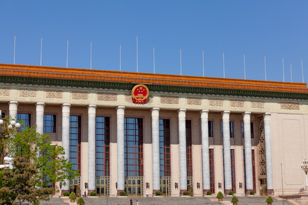 great hall: Beijing, China - April 28, 2015: Great Hall of the People, Beijing, China. Building using for events by the chinese government and parliament