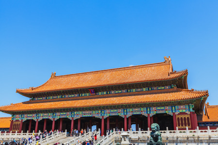 emperors: Beijing, China - April 28, 2015: Forbidden City, Beijing, China. The gate of Supreme Harmony. Residence of emperors of the Ming and Qing dynasties