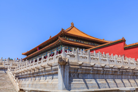 balustrades: Beijing, China - April 29, 2015: Forbidden City, Beijing, China. The Hall of Supreme Harmony marble terrace and stairs with ornamental balustrades